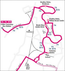 Route map for the 73, 74 and X73 services in Bradley Stoke, Bristol.
