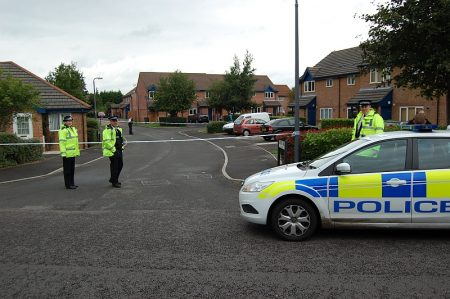 Police attend a bomb scare in Carter Walk, Bradley Stoke, Bristol.