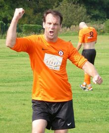 Adam Sykes celebrates BSTFC Reserves' second goal.