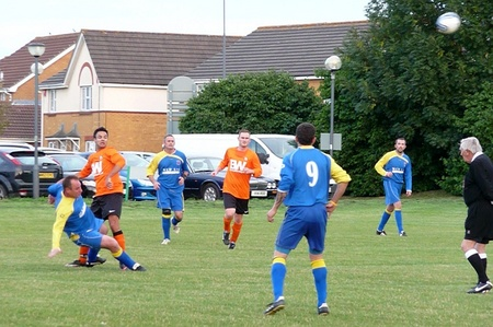 BSTFC's Andy Turner goes in for a challenge.