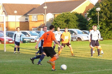 Brad Clarke on the ball for Bradley Stoke Town FC.