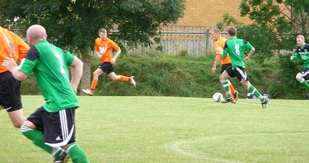 Bradley Stoke Town FC 1st team in action against Pucklechurch.
