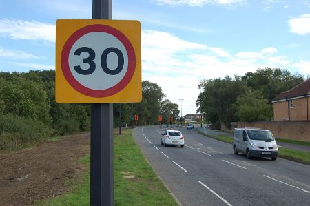 New 30mph speed limit sign on Bradley Stoke Way.