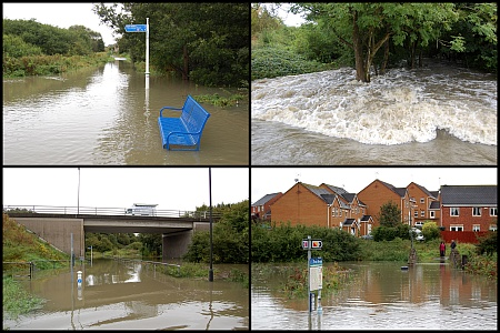 Scenes of flooding in the Three Brooks Local Nature Reserve, Bradley Stoke.