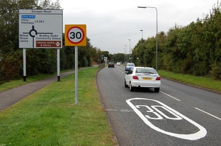 New 30mph speed limit now in force on Bradley Stoke Way,