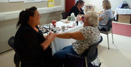 Body Shop volunteers stage a pamper session at the MS Therapy Centre.