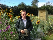 Proprietor Oakleigh Wood pictured on a plot at Hortham Farm Allotments.
