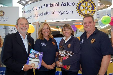 "Members of the Rotary Club of Aztec West stage at their recent ""awareness day""."
