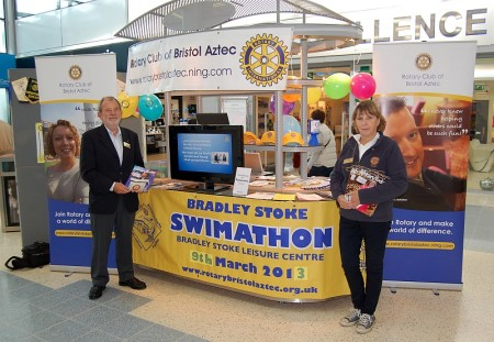 Bristol Aztec Rotary Club promotes its Swimathon charity fundraising event.