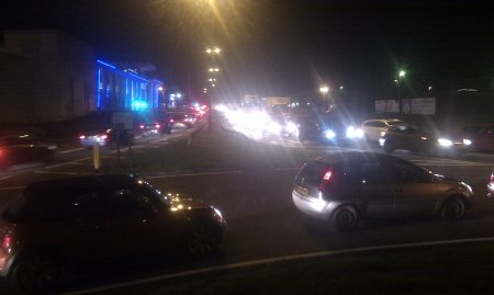 Traffic at a standstill on Bradley Stoke Way, near the Willow Brook Centre.