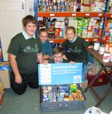 BSCS students organise food at North Bristol Foodbank.