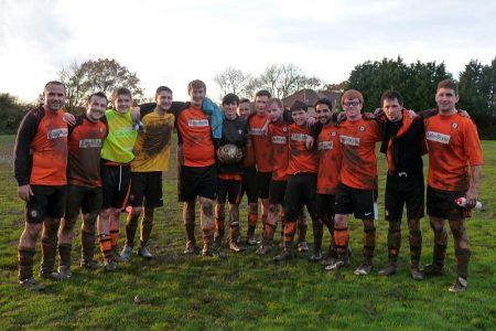Bradley Stoke Town FC's B Team celebrate their cup win.