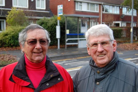 Brook Way pedestrian crossing campaigners Fred Hillberg (left) and Peter Kite.