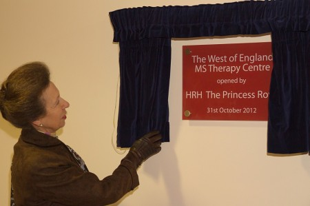 HRH The Princess Royal officially opens the West of England MS Therapy Centre.