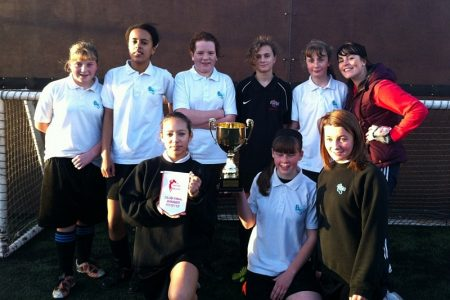 Bradley Stoke Community School girls football team, npower Girls Cup winners.