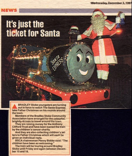 Bradley Stoke Santa Express, featuring Ron Bidder as Santa.
