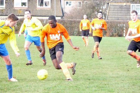 Shad Esimeng on the ball for Bradley Stoke Town FC's First Team.