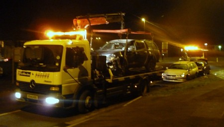 Recovery vehicles attend a road traffic accident on Bradley Stoke Way.