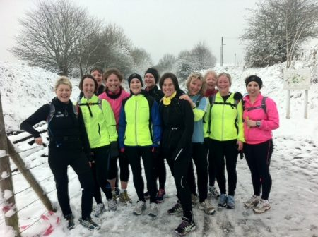 Members of Sole Sisters Running Club brave the icy conditions.
