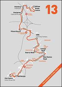 Route map for the Wessex Red no. 13 bus service from Bradley Stoke to Bristol.