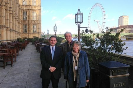 Jack Lopresti MP (left) with Roland and Brenda Cowley outside Parliament.