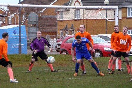 Bradley Stoke Town FC's First Team in action against Portville Warriors.