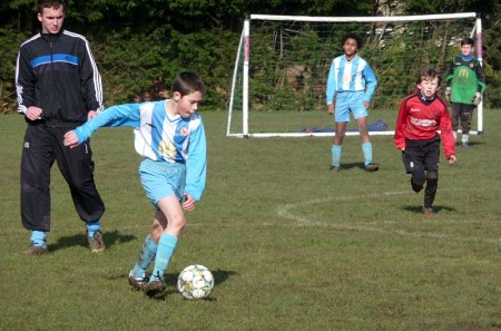 Bradley Stoke Town Youth FC Under-11 Boys in action against Highridge.