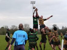 St Mary's Old Boys RFC First XV in action against Whitehall.