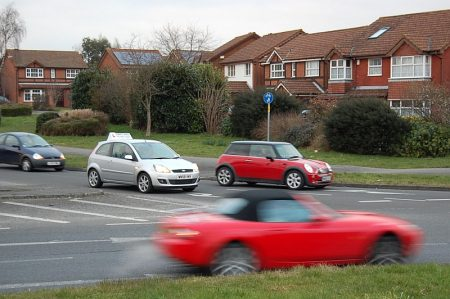 Roundabout on the B4057 Winterbourne Road at Orpheus Avenue.