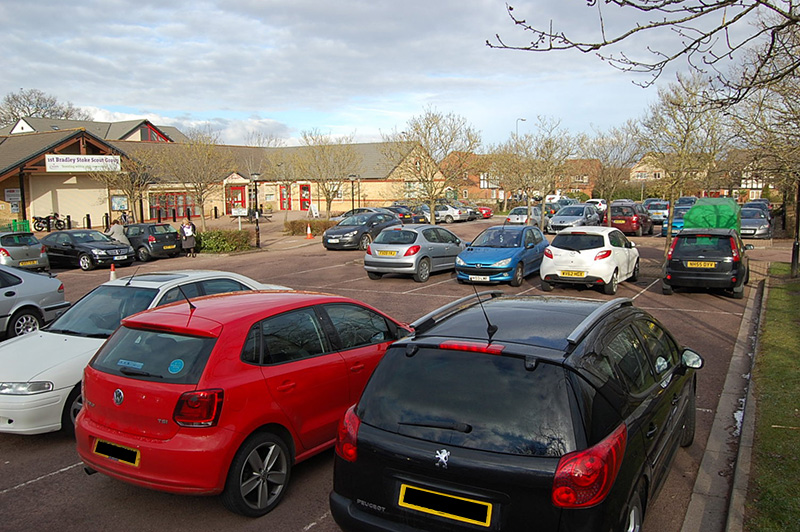 The car park at Brook Way Activity Centre and Bradley Stoke Surgery.