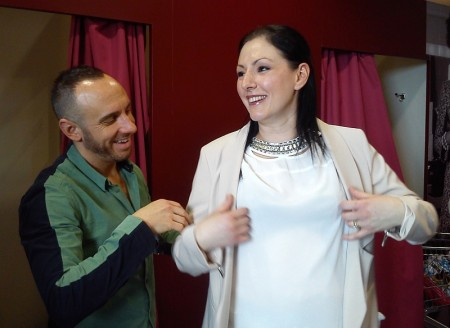 TV stylist Mark Heyes with makeover model Ceri Wakefield.