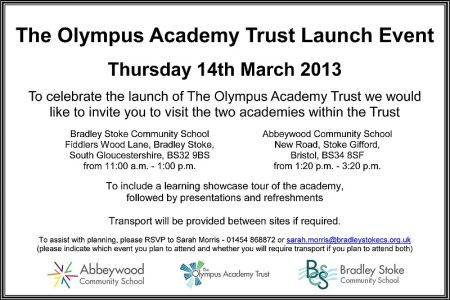 The Olympus Academy Trust Launch Event on Thursday 14th March 2013.