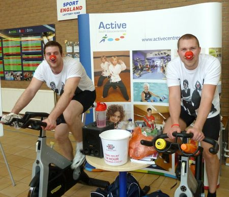 Sponsored cycle for Comic Relief at Bradley Stoke Leisure Centre.