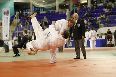 Scott Bennett in action at the 2013 British Schools Judo Championships.