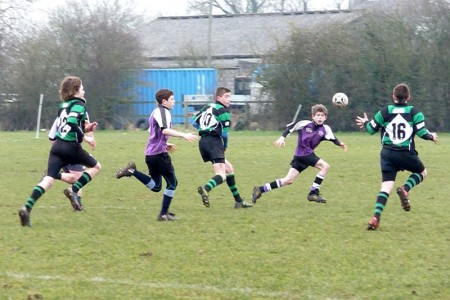 The St Mary's Old Boys RFC Under-13s Team in action against Clifton.