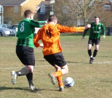 Stu Pyett on the ball for the Bradley Stoke Town FC Reserves.