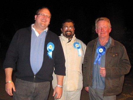 Winning candidate Andy Ward (left) pictured with Conservative colleagues.