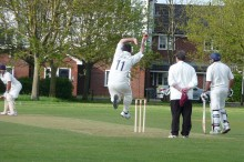 Barry Radford bowls for BSCC against Almondsbury.