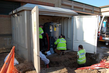 A new electricity sub-station is installed near the Tesco store in Bradley Stoke.