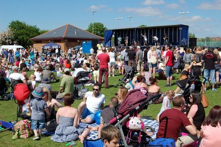 A big crowd at Bradley Stoke Community Festival 2013.