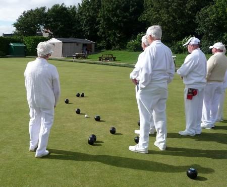 Cricket match at Baileys Court, Bradley Stoke, Bristol.