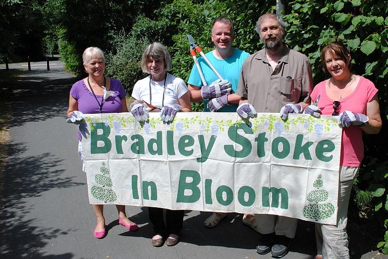 Bradley Stoke in Bloom (BSiB) volunteers prepare for their first workday.