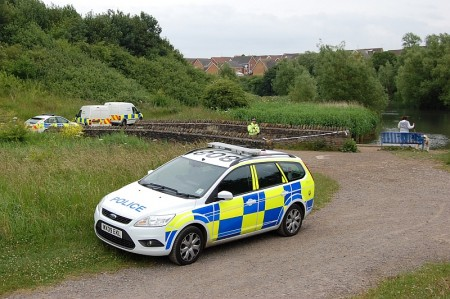 Police attend an incident at the Three Brooks lake in Bradley Stoke.
