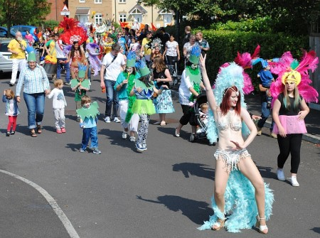 The Bradley Stoke Carnival Parade passes through Merryweather Close.