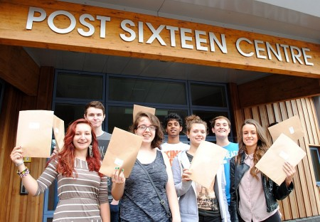 Students at Bradley Stoke Community School celebrate their A-level results.