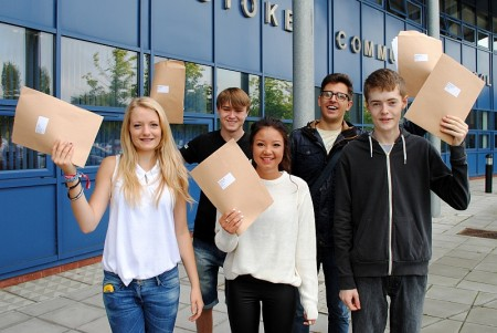 Students at Bradley Stoke Community School celebrate their GCSE exam results.