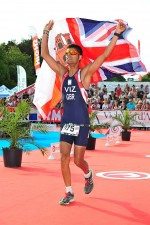 Triathlete Akhil Viz competing for GBR in Vichy, France.