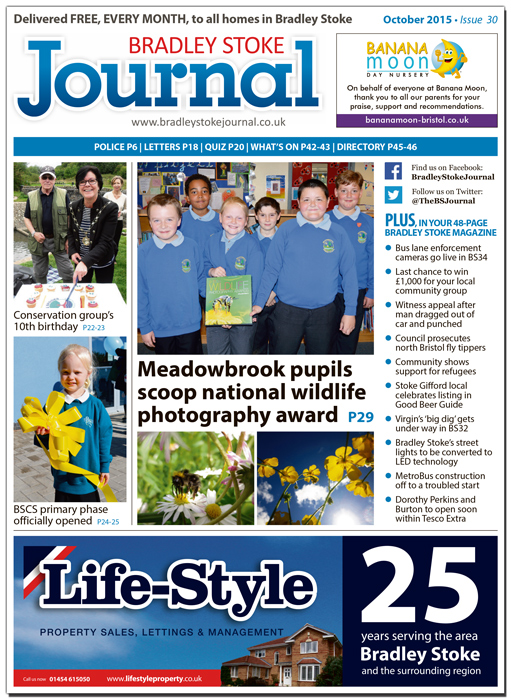 October 2015 edition of the Bradley Stoke Journal news magazine.