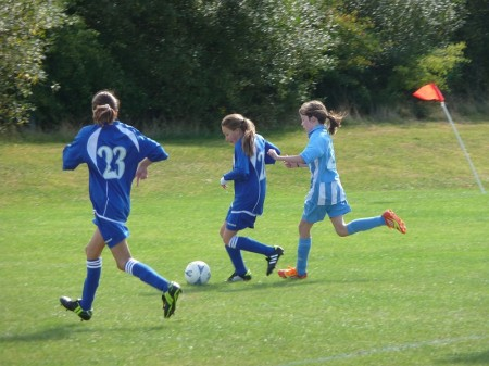 Bradley Stoke Youth FC Under-11 Girls in action against Wotton Rovers.