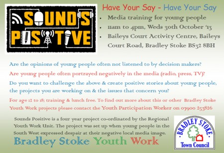 Sounds Positive media training for young people in Bradley Stoke.